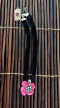 Empowering Jewelry Black Velvet Choker Necklace Pink Flower Knit Heart Pendant - $3.33
