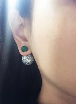 Authentic Christian Dior LIMITED EDITION GREEN MARBLE Tribal Pearl Earrings RARE image 6