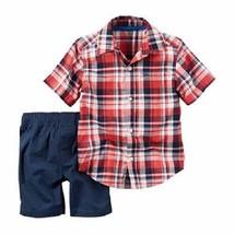 2-Piece Carter's Button-Front Shirt & Poplin Short Set , 9m - $12.86
