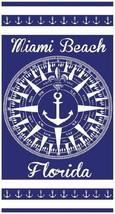 "Compass Rose Towel Miami Beach Florida North Sailor Nautical Pool 30""x60"" - $10.99"