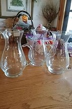 Princess House Heritage 10 inch Pitcher Clear Crystal with Flower Etching Large - $39.99