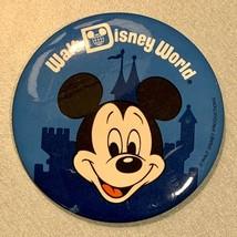 Disney World Mickey Mouse Castle Blue Pinback Button Vintage 1980's - $9.50