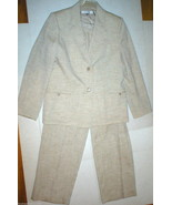 Nice Womens 14 Tahari Suit Khaki Beige Tan Blazer Jacket Pants Office Te... - $138.00