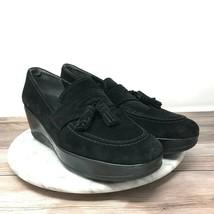 Stuart Weitzman Womens Size 10 Black Suede Leather Tassel Slip On Wedge ... - $44.95