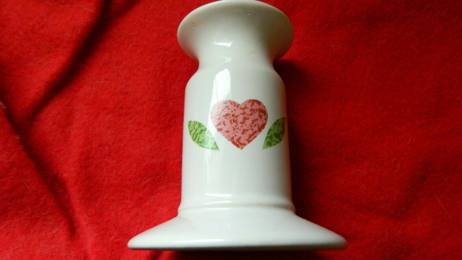 Primary image for CORELLE QUILT PATTERN CERAMIC CANDLE HOLDER GENTLY USED FREE USA SHIPPING