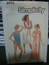 Simplicity #6916 Nightgown in 2 Lengths & Baby Dolls Pattern - Size LG u... - $5.50