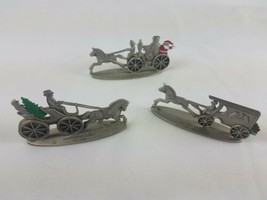 Hallmark Lot of 3 Pewter Steam Fire Engine U.S. Mail Wagon Open Topped S... - $21.73