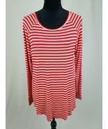American Eagle Soft & Sexy women M Jegging T red/white stripe long sleeve - $24.75