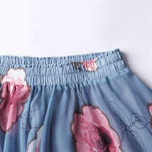 FLORAL Chiffon Long Skirt Dusty Blue Flower Silk Chiffon Skirt Summer Wedding  image 8