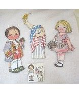 Older Dolly Dingle Paper Doll 6 PC Dress 4th of July Liberty w Boy Doll ... - $12.38