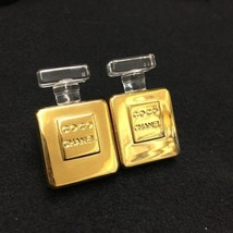 Authentic CHANEL Vintage Perfume Gold Logo Clip on Earrings Coco HCE092 - $1,020.20