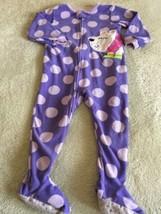 Carters Girls Purple Polka Dots White Polar Bear Fleece Long Sleeve Pajamas 2T  - $5.95