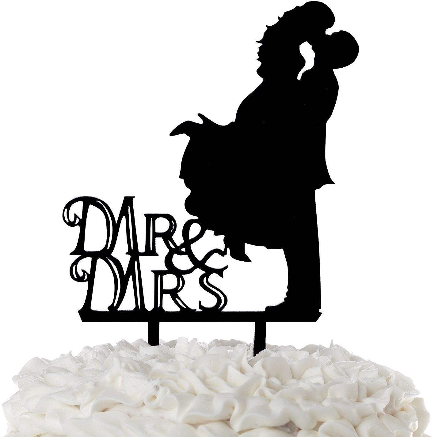 Primary image for Mr And Mrs Wedding Cake Topper Bride Groom Kiss Black Acrylic Toppers (Loving