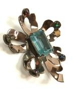VTG Antique Pin Brooch Cut Glass Blue center Floral Statement marked FPE? - $29.69