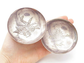 925 Sterling Silver - Vintage 2 Pieces Phoenix Etched Trinket Dishes - T... - $263.49