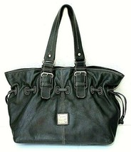 DOONEY & BOURKE Chiara Black Pebbled Leather Large Drawstring Shopper Handbag - $111.83