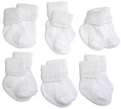Preemie-Newborn White Rock-A-Bye Bootie 6 Pack - $12.00