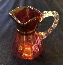 "Vintage FENTON PITCHER Cranberry Glass w/ Clear Handle 8"" - $34.99"