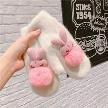 Cute Women Warm Winter Knitted Full Finger Gloves Rabbit Fur Ball Design... - $12.86