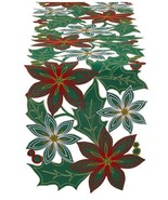 """Poinsettia Embroidered Table Runner New Christmas Flowers 14"""" x 54"""" - $28.12"""
