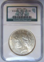 1923 Silver Peace Dollar NGC MS 63 Binion Nevada Casino Collection Hoard... - $104.99