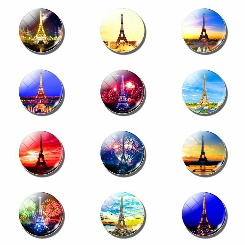12pcs Magnetic Refrigerator Stickers Eiffel Tower Fridge Note Holder Home Decor