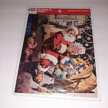 Vintage WHITMAN Christmas Puzzle Frame Tray 1979 Peeking at Santa Toy Sack - $8.91