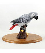 Parrot Grey African Figurine - Hand Painted - $32.95