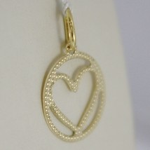 18K YELLOW GOLD HEART PENDANT CHARM 22 MM FINELY WORKED, BRIGHT, MADE IN ITALY image 2