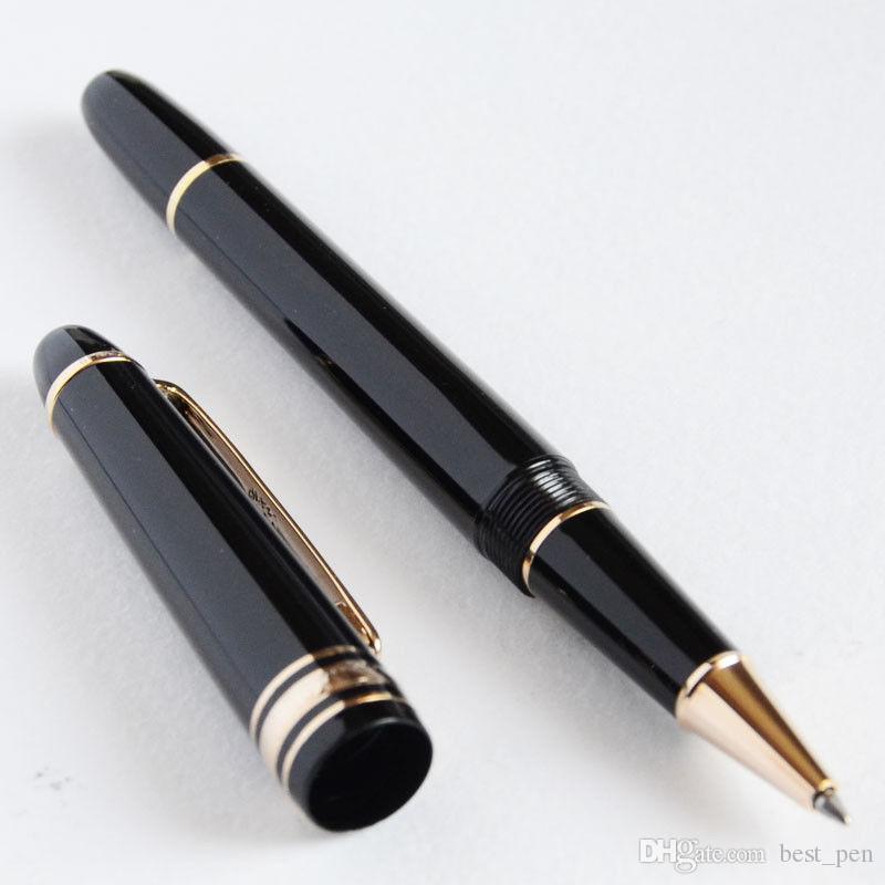 Best Design Executive MB 145 Pen Black and Golden Roller Ball Pen Classic Busine