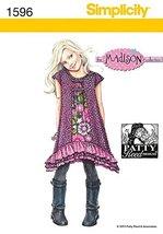 Simplicity Childrens Sewing Pattern 1596 Shaped Layered Ruffle Hem Dresses - $12.33