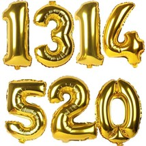32inch Gold Silver Number Foil Balloons Digit air Ballons Wedding Birthd... - $3.54