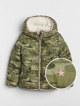 New GAP Kids Girls Cold Control Max Sherpa Green Camouflage Hooded Puffer 14 16 - $69.29
