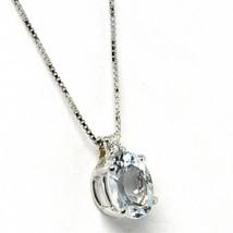18K WHITE GOLD NECKLACE AQUAMARINE 0.65 OVAL CUT & DIAMOND, PENDANT & CHAIN image 2