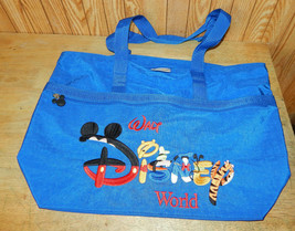 Walt Disney World Embroidered Nylon Tote Bag Zippered Top  - $29.38