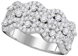14kt White Gold Round Pave-set Diamond Contoured Strand Cocktail Band 1-... - £745.31 GBP