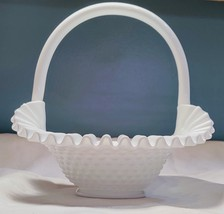 Fenton White Milk Glass Hobnail Ruffled Edged Basket - $32.75