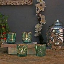 Aquamarine Mercury T-LIGHT Holderhand Cut Indian Decorative Wedding Gift Crystal - $25.48