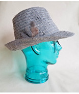 CLEARANCE SALE!!  Ladies M BEIGE TAUPE Fedora HAT grey feather August Tr... - $13.85