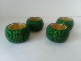 Set of 4 Green Bead Gold Tone Ribbed Festive Napkin Rings - $14.84