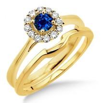 1.25 Carat Sapphire & Simulated Diamond Bridal set Halo 14K Yellow Gold Fn  - $99.99