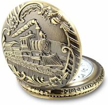 Train Copper Dangle Pendant Quartz Pocket Watch - $22.99