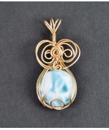 LARIMAR OCEAN BLUE WIRE WRAPPED PENDANT IN 14 k  GOLD FILL  - $69.30