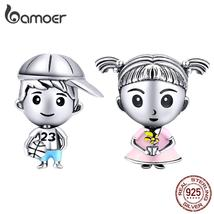 bamoer Family Colleciton Sister & Brother 925 Sterling Silver Charm fit ... - $26.97