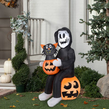 4.5ft Gemmy AIrblown Inflatable Halloween Reaper Pumpkin Cat Outdoor Yar... - $49.49