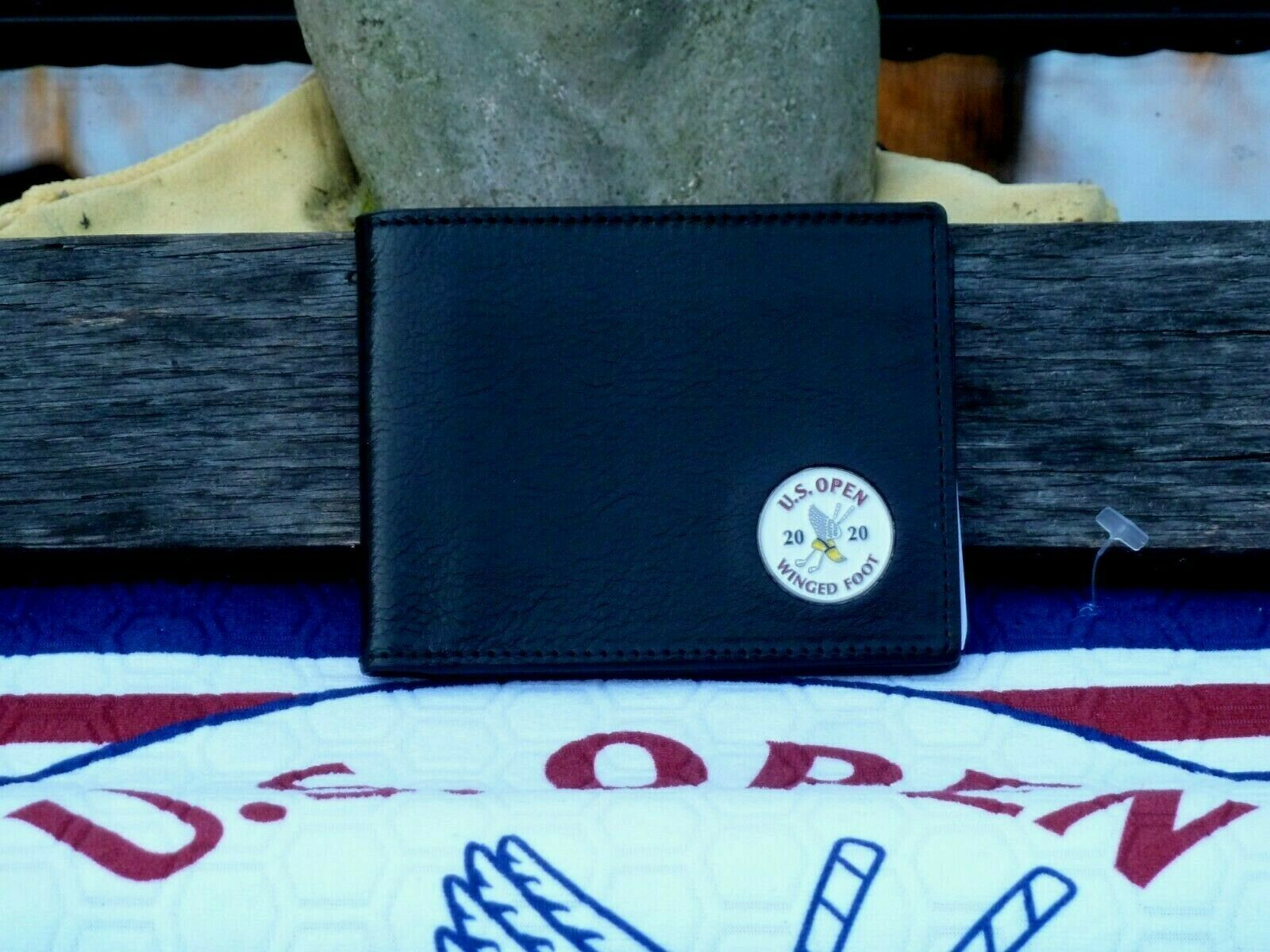 Primary image for US Open Ahead  Black  Leather  Bifold Wallet- White logo