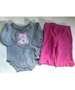 Baby Girl's Size 3M 0-3 Months Two Piece Gray Bear L/S Top & PLACE Pink ... - $14.00