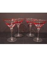 Soufflé A La Bouche Mouth Blown  Set Of Four (4) Martini  Glasses.  - $60.00