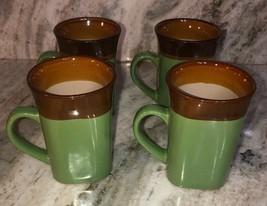 Royal Norfolk Green/Brown Stoneware Coffee Mugs Dinnerware Cups-Set Of 4-SHIP24H - $29.58