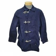 Vintage Polo Ralph Lauren Mens L Blue Denim Fireman Jacket Coat Metal Hooks  - $186.99